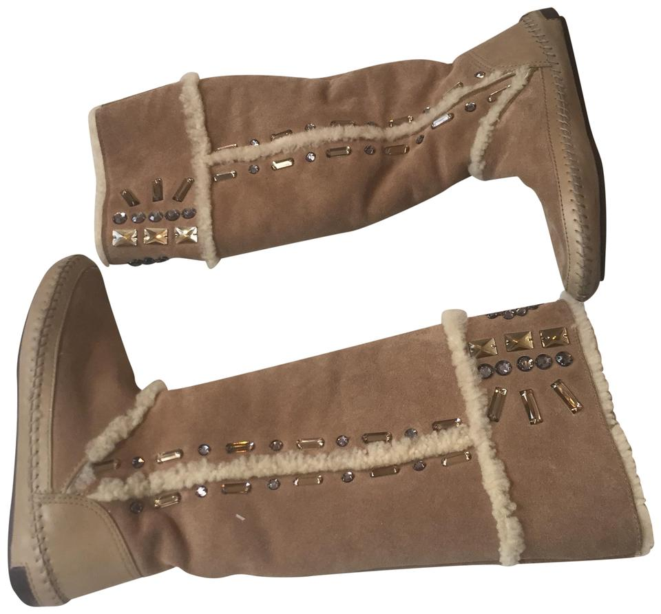 b164f1f57922 Tory Burch Tan Shearling Lined Knee High Moccasins Boots Booties ...