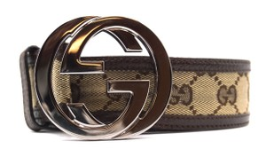 Gucci Classic GG silver buckle canvas and leather Belt Size 85 34