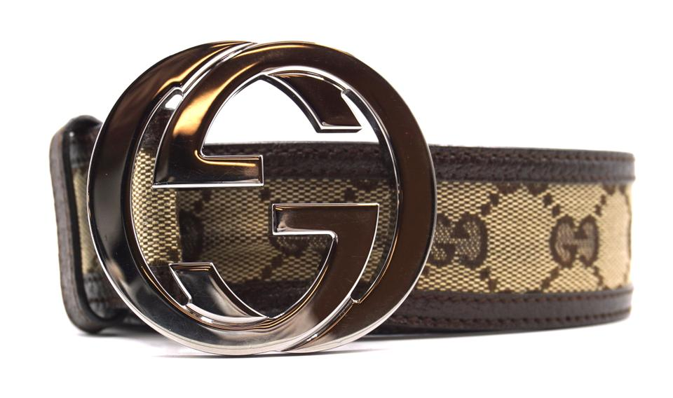 95e19fcfc37 Gucci  22340 Beige On Black Classic Gg Silver Buckle Canvas and Leather  Size 85 34 Belt