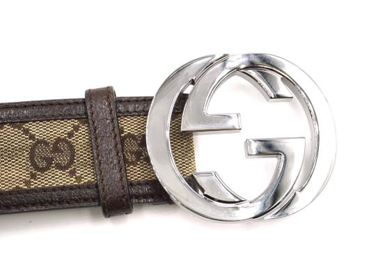 Gucci Classic GG silver buckle canvas and leather Belt Size 85 34 Image 2