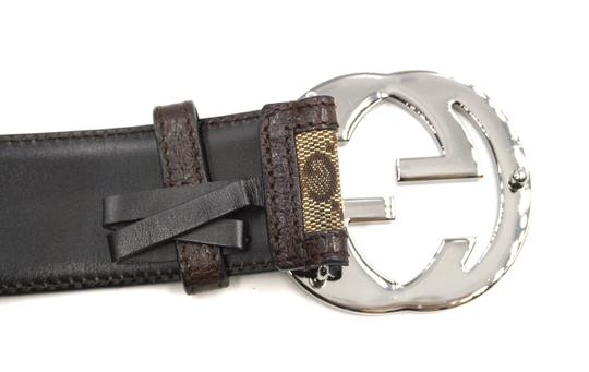 Gucci Classic GG silver buckle canvas and leather Belt Size 85 34 Image 3