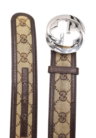 Gucci Classic GG silver buckle canvas and leather Belt Size 85 34 Image 6