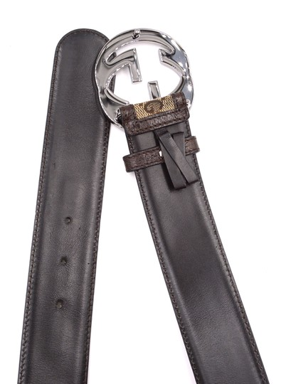 Gucci Classic GG silver buckle canvas and leather Belt Size 85 34 Image 7