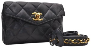 Chanel Leather Limited Edition Vintage Quilted European black Clutch