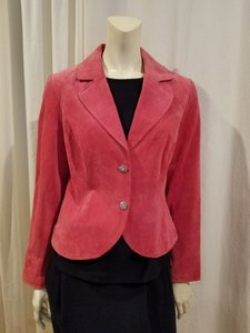 Live A Little Suede Leather Detail Embellished Comfortable Pink Blazer