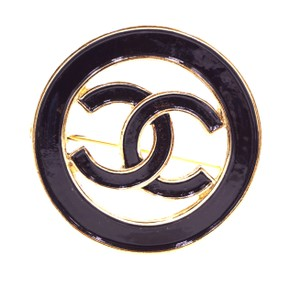 Chanel Ultra Rare CC Around enamel plated gold hardware brooch pin charm