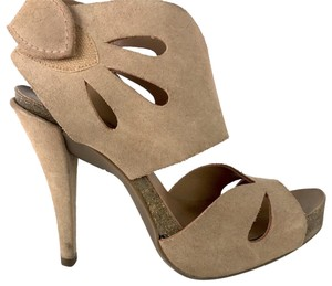 Pedro Garcia Suede Cut-out Nude Sandals
