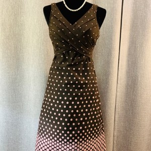 Brown with Pink Polka Dots Maxi Dress by Lucy & Laurel