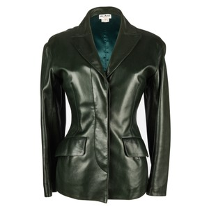 ALAÏA bottle green Leather Jacket