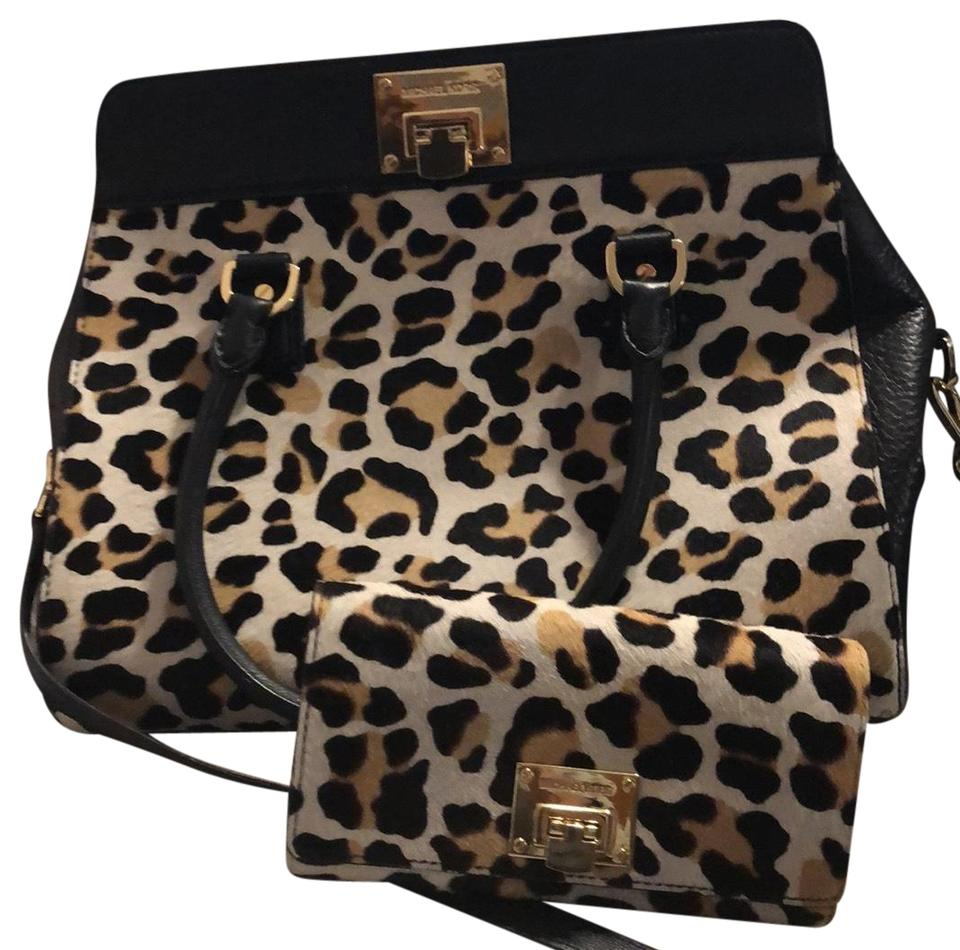 b1593bd5a8ad MICHAEL Michael Kors Black and Cheetah Suede Purse and Wallet ...