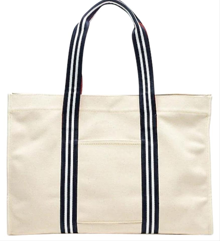 J Crew Travel With Striped Straps Beige Canvas Tote 34 Off Retail