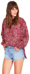 Amuse Society Bohemian Party Top Red floral