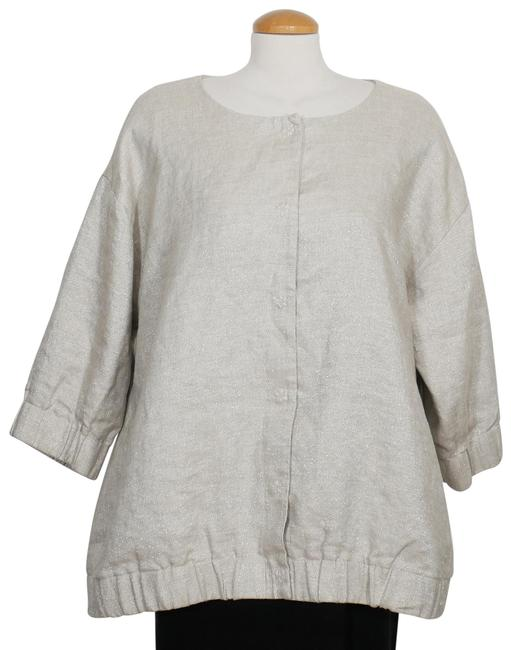 Eileen Fisher Natural Beige Twinkle Linen Woven Round Neck 1x Jacket Size 20 (Plus 1x) Eileen Fisher Natural Beige Twinkle Linen Woven Round Neck 1x Jacket Size 20 (Plus 1x) Image 1