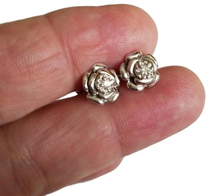 Amour Amour Delmar Diamond Floral Stud Earrings in Sterling Silver
