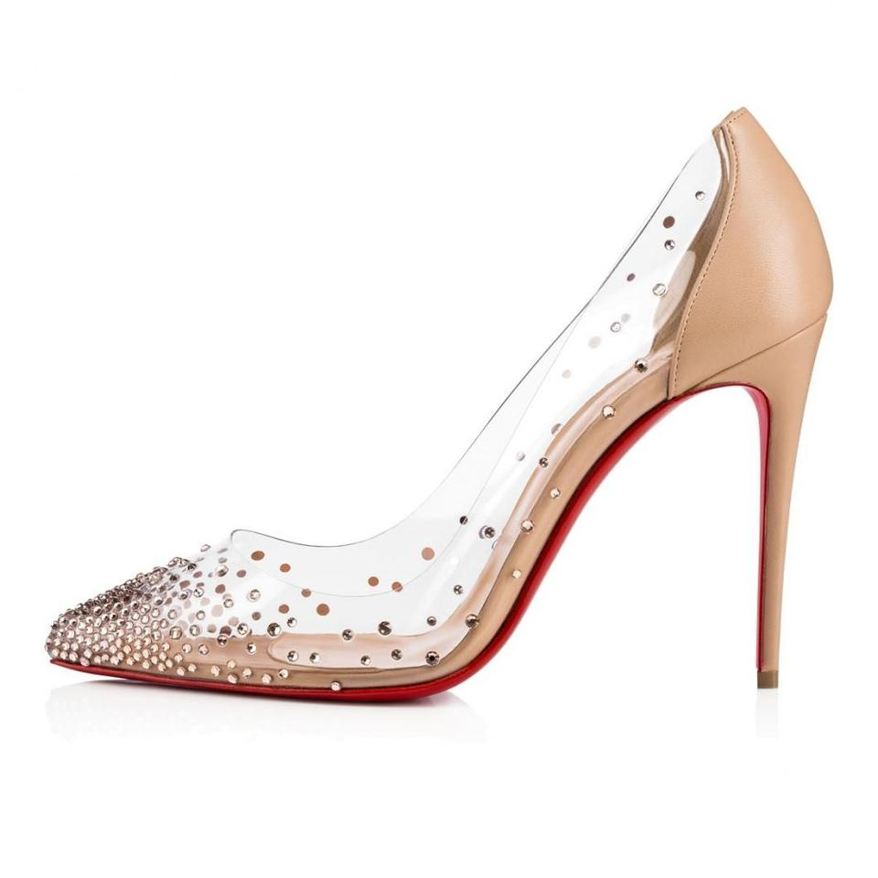 Christian Louboutin Nude Degrastrass Pvc 100 Beige Clear