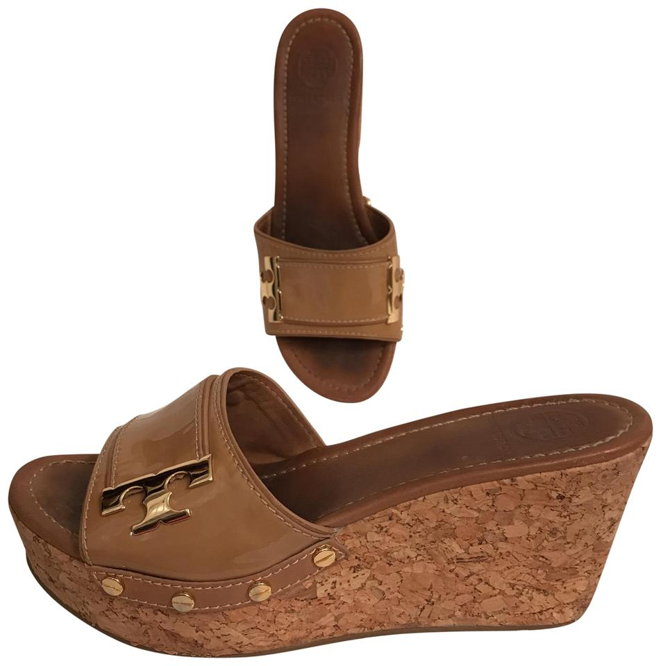 dcbe7ed21e6 Tory Burch Wedge Platform Patent Leather Cork Leather Beige Gold Sandals  Image 0 ...