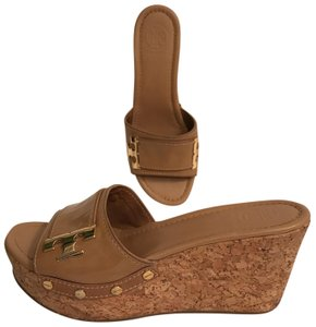Tory Burch Wedge Platform Patent Leather Cork Leather Beige Gold Sandals