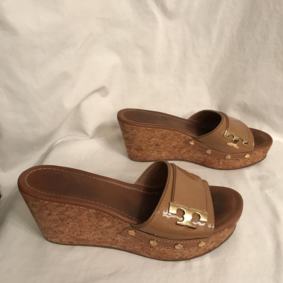 ffb2bd9afad3 Tory Burch Beige Gold Pamela Patent Leather Cork Sandals Size US 7.5 ...