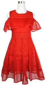 Maje short dress Red Polyester Mesh-kint Embroidered on Tradesy