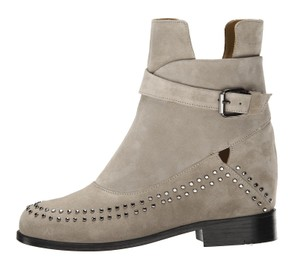 Thakoon Addition Leather Studded Ankle Grey Suede Boots