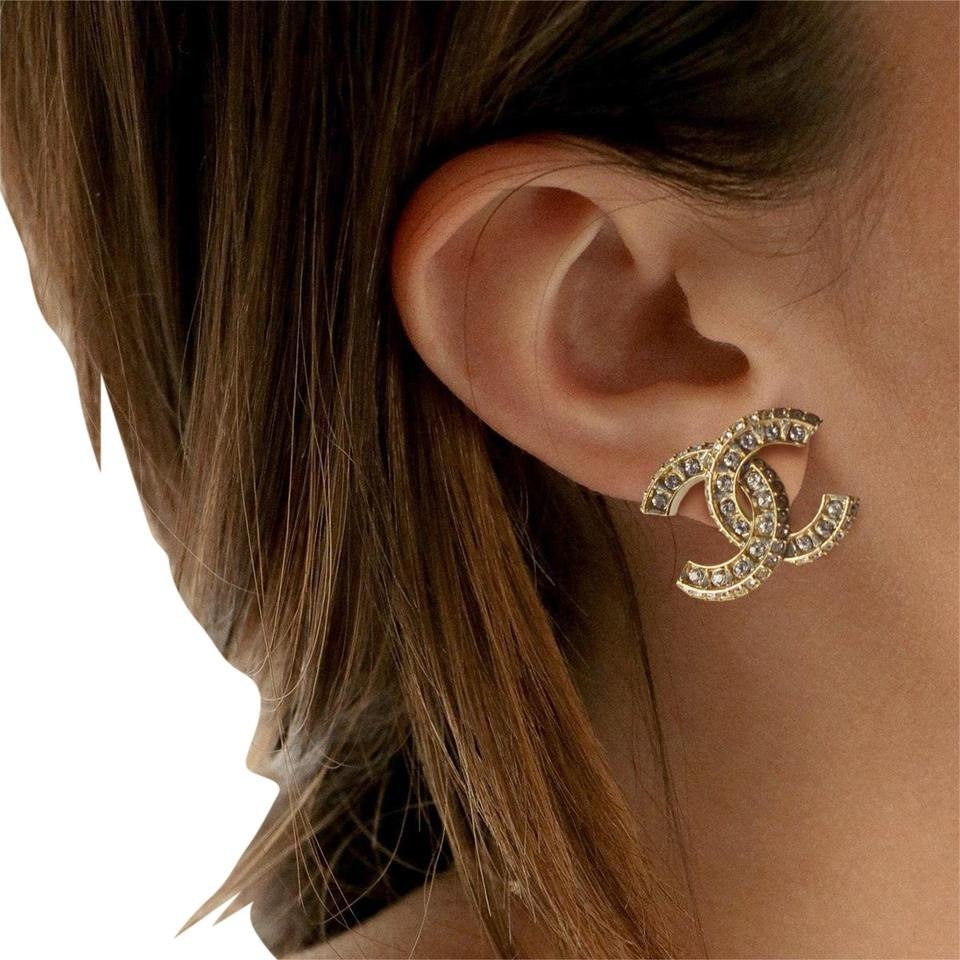 Chanel Large Crystal Cc Logo Stud Earrings