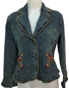 Méchant Butterfies Embroidery Ruffles Womens Jean Jacket
