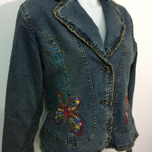 Méchant Butterfies Embroidery Ruffles Womens Jean Jacket Image 4