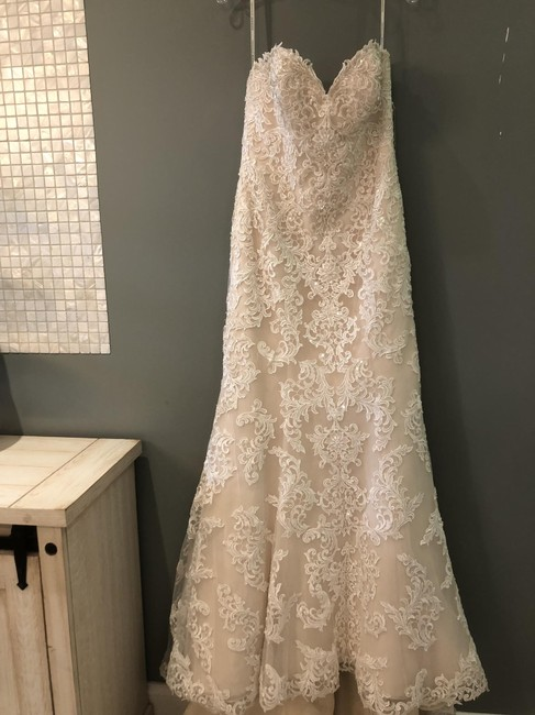 Item - Ivory Lace and Champagne Regency Organza Over Gold Satin D1985 Formal Wedding Dress Size 8 (M)