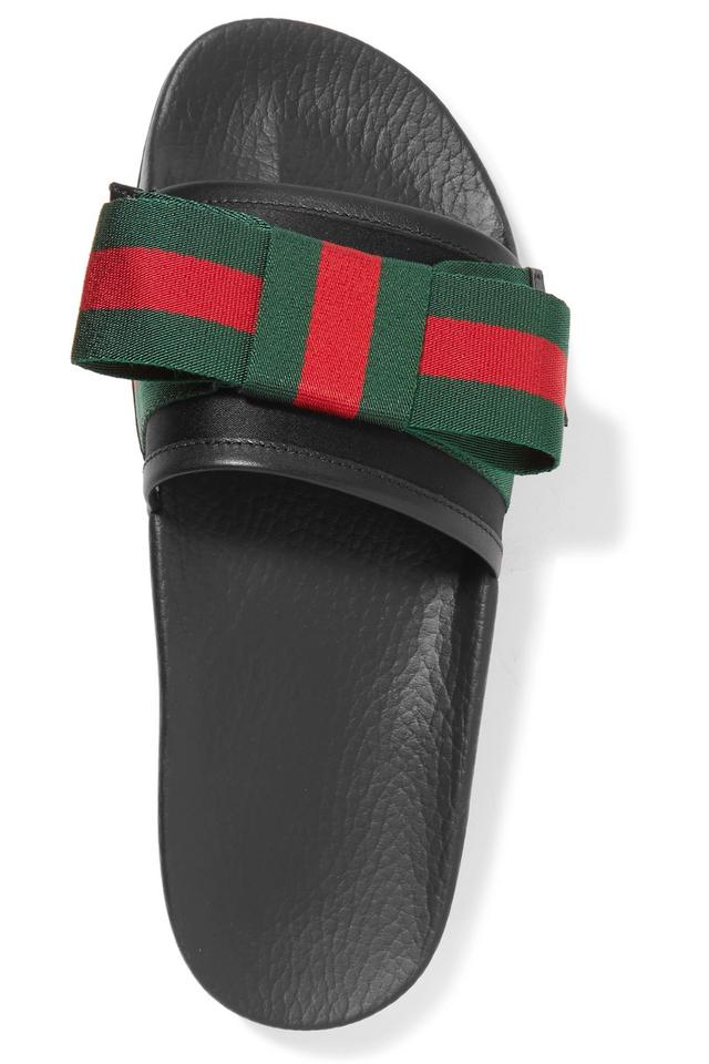 a45f85980 Gucci Pursuit Bow-embellished Satin and Rubber Slides Sandals Size ...