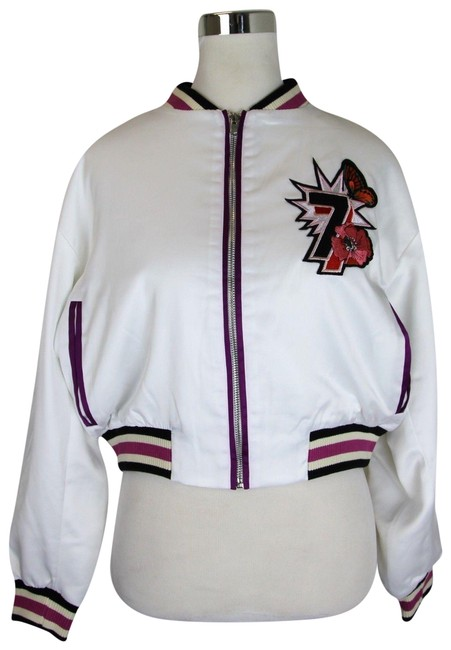 Item - White Poly Bomber Web Patch and Peacock Detail It 40 E18bloomy Jacket Size 12 (L)