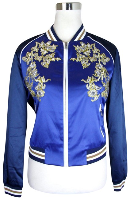 Item - Blue W Floral Embroidered Bomber W/Bwb It 38 H17bichon Jacket Size 8 (M)