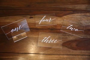 White Table Numbers - White/Acrylic Reception Decoration