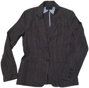 Peruvian Connection Striped Linen Classic Charcoal, aubergine, and blue Blazer