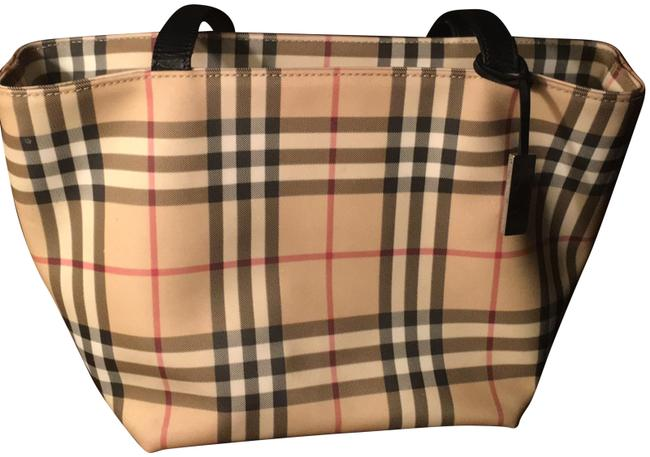 Item - Classic Nova Tan Background with Black and Red Plaid Coated Canvas Tote