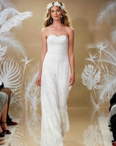 Theia Ivory Lace Skyler Bridal Jumpsuit 890410 Destination Wedding Dress Size 6 (S)