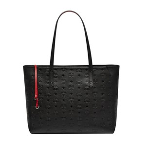 MCM Monogram Leather Tote in Black