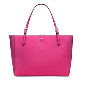 Tory Burch York York Buckle Leather 40668 Tote in Carnation