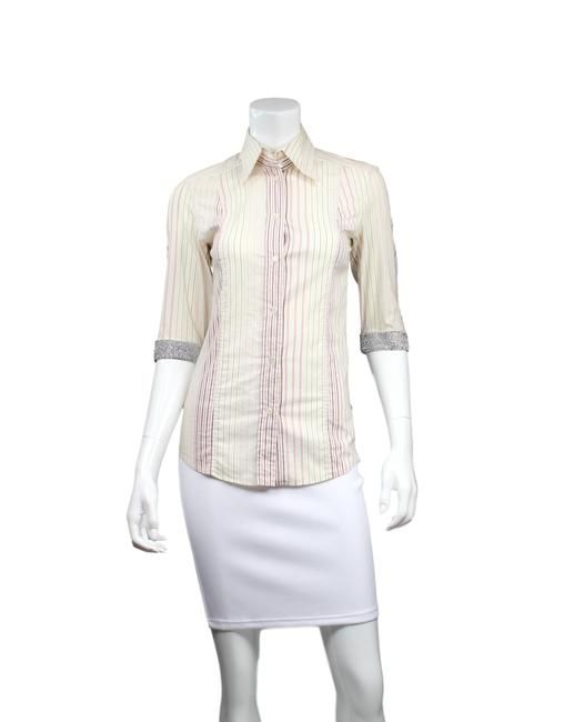 Item - Pink Ivory & Pinstriped Crystal Embellished Button-down Top Size 4 (S)
