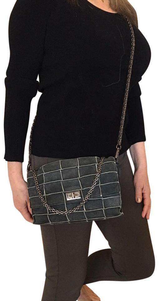 9da15cf1c775 Chanel Classic Flap Patchwork Chain Grey Olive Quilted Suede and Leather Cross  Body Bag