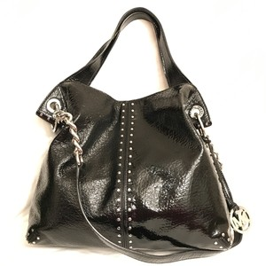 8ce00eea5 Michael Kors Astor Studded Large Black Silver Patent Leather Tote ...