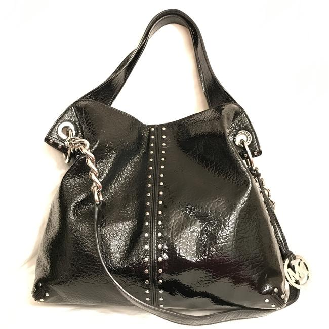 Item - Astor Studded Large Black Silver Patent Leather Tote