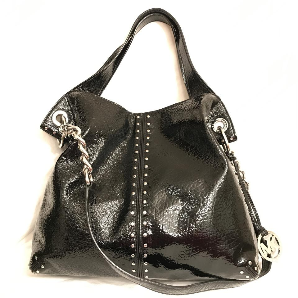 3c9948cd62 Michael Kors Astor Studded Large Black Silver Patent Leather Tote ...