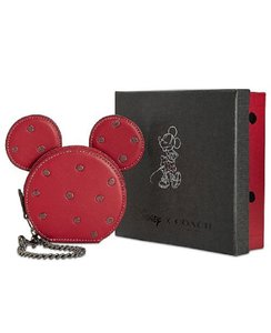 Coach Disney New Minnie Mouse Mickey Mouse Leather Wristlet in 1941 Red/Gunmetal