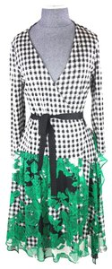Diane von Furstenberg Gingham Wrap Printed Dress
