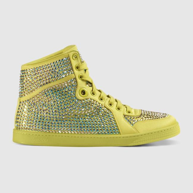 Gucci Yellow Women's Satin Fabric Crystal Stud High Top Sneakers Size US 10 Regular (M, B) Gucci Yellow Women's Satin Fabric Crystal Stud High Top Sneakers Size US 10 Regular (M, B) Image 2