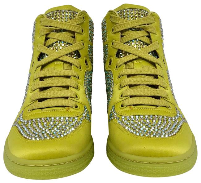 Gucci Yellow Women's Satin Fabric Crystal Stud High Top Sneakers Size US 10 Regular (M, B) Gucci Yellow Women's Satin Fabric Crystal Stud High Top Sneakers Size US 10 Regular (M, B) Image 3