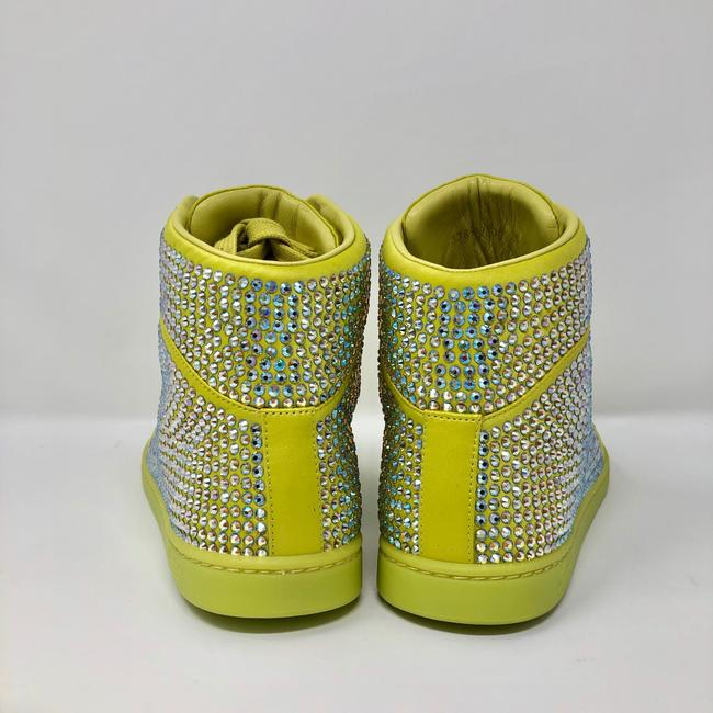 Gucci Yellow Women's Satin Fabric Crystal Stud High Top Sneakers Size US 10 Regular (M, B) Gucci Yellow Women's Satin Fabric Crystal Stud High Top Sneakers Size US 10 Regular (M, B) Image 4