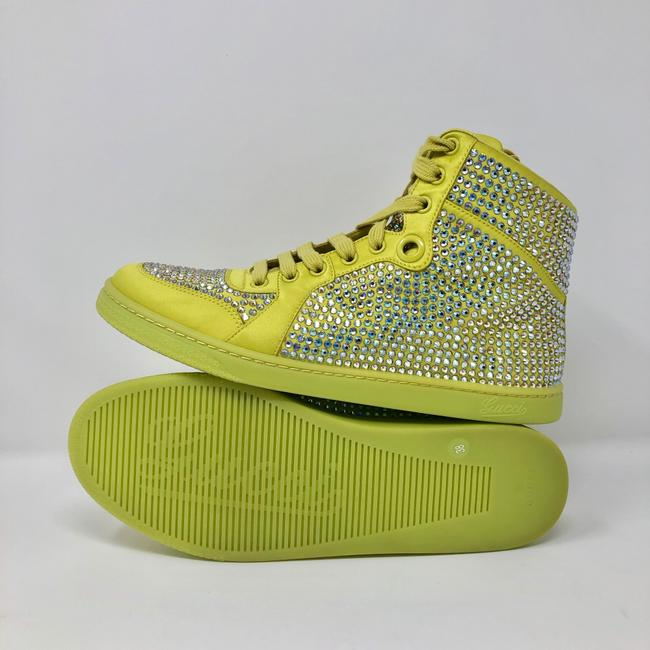 Gucci Yellow Women's Satin Fabric Crystal Stud High Top Sneakers Size US 10 Regular (M, B) Gucci Yellow Women's Satin Fabric Crystal Stud High Top Sneakers Size US 10 Regular (M, B) Image 5