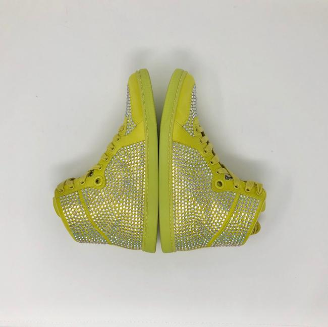 Gucci Yellow Women's Satin Fabric Crystal Stud High Top Sneakers Size US 10 Regular (M, B) Gucci Yellow Women's Satin Fabric Crystal Stud High Top Sneakers Size US 10 Regular (M, B) Image 6