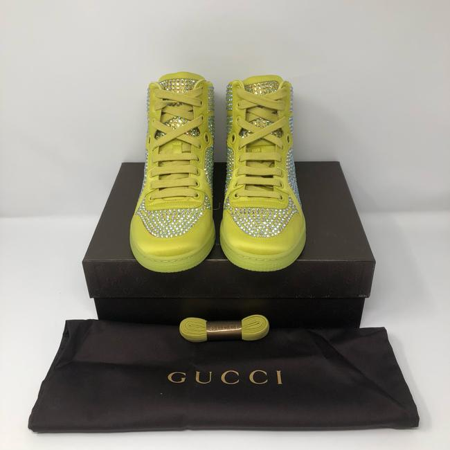 Gucci Yellow Women's Satin Fabric Crystal Stud High Top Sneakers Size US 10 Regular (M, B) Gucci Yellow Women's Satin Fabric Crystal Stud High Top Sneakers Size US 10 Regular (M, B) Image 8
